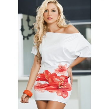 robe blanche motif floral