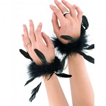 menottes de luxe noires en plumes